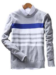 cardigans sweaters gray 3xl crew neck stripes sweater gamiss