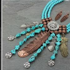 turquoise necklace set images Jewelry western feather turquoise necklace set poshmark jpg