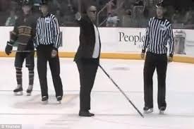 Blind Man Cane Bizarre Scene As Hockey Coach Dressed In Tuxedo Gatecrashes Game