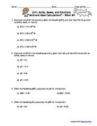 acids bases and solutions homework worksheets set of 7