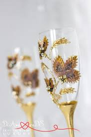 Maple Leafs Toaster Autumn Wedding Champagne Flutes Rhinestone Gold And Bronze