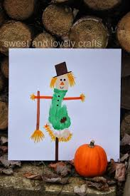 sweet and lovely crafts footprint scarecrow halloween fall