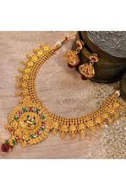 gold costume necklace images Golden costume jewellery necklace set adi34335 jpg