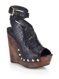 stuart weitzman croc embossed leather wedge sandals in black lyst