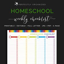 Household Items Checklist by Weekly Homeschool Checklist Kids Childrens Lesson Plan Chart