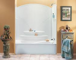 shower classy white freestanding rectangular bathtub with clear shower snazzy floating shelves for liquid soap storage over white acrylic rectangular bathtub and modern tub