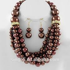 beaded pearl necklace images Brown synthetic pearl necklace multi row beaded necklace and jpg