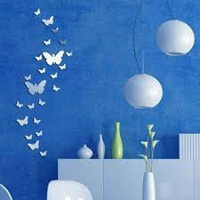 diy 3d silver acrylic butterfly wall stickers decoration on wall
