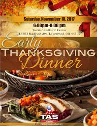 early thanksgiving dinner turkish american society