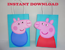 peppa pig party peppa pig favor bags peppa pig birthday peppa pig party