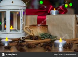 christmas sticks with lights christmas decorations with small cup of coffee gift box l with