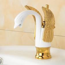 designer swan shaped single hole bathroom sink faucet dl 4808g
