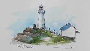 pen and wash watercolor tutorial cape spear lighthouse by peter