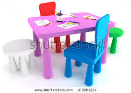 kids plastic table and chairs colorful plastic kid chairs table on stock illustration 108261224