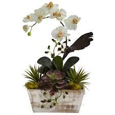 silk orchids 21 inch silk orchid succulent garden in white wash planter 1326