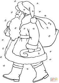 santa claus with gift bag coloring page free printable coloring