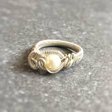 silver wire rings images Pearl engagement ring wire wrapped designs by nature gems jpg