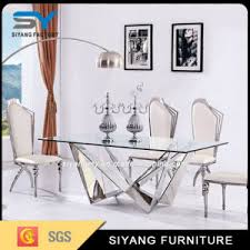 Tempered Glass Dining Table China Stainless Steel Furniture Dining Table Chair Tempered Glass