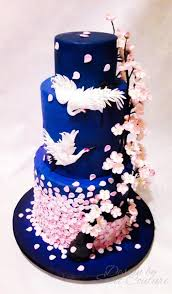 oriental cherry blossom themed wedding cake cake by sweet