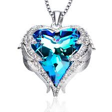 blue heart necklace images Blue heart crystal pendant necklace birthday valentines day women jpg