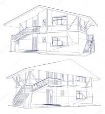 architecture blueprint of a two house vector u2014 stock vector