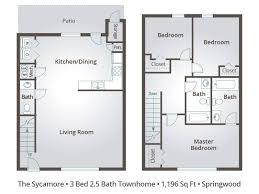 Sycamore Floor Plan Apartment Floor Plans U0026 Pricing U2013 Springwood Townhomes In