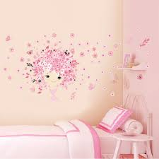 online get cheap pink wall stickers aliexpress com alibaba group flower flower fairy pink cute baby girl mermaid butterfly home decor wall sticker for girls baby kids room wall art diy poster