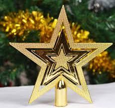 golden glitter star treetops of christmas tree decoration topper