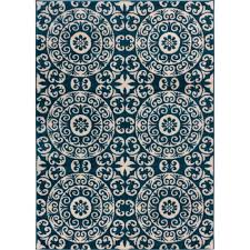 Modern Rugs Sydney Well Woven Sydney Palatial Moroccan Tile Navy Blue 7 Ft 10