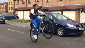 hellcat bicycle trying to wheelie hellcat and ghost ride bmx youtube