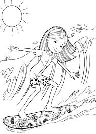 Surfing Coloring Pages Groovy Girl Surfing Coloring Pages Free Surfboard Coloring Page