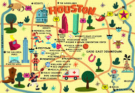 houston map convention center whimsical map for houston press on behance