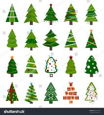 different christmas tree set vector illustration stock vector