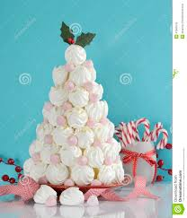 christmas tree dessert treat made with pink and white meringues