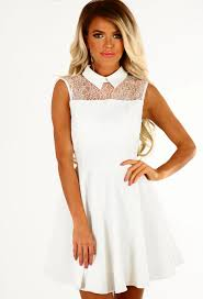 Cityvibe City Vibe White Lace Top Skater Dress Pink Boutique