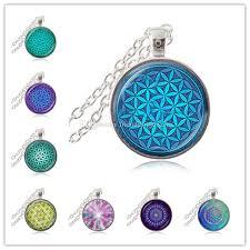 spiritual jewelry wholesale flower of necklace om chakra flower pendant mandala