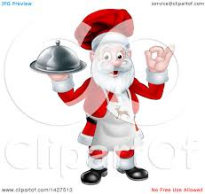 clipart of a cartoon happy christmas santa claus gesturing ok