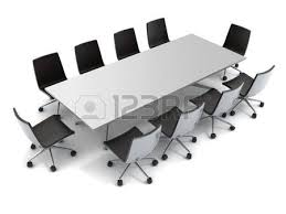 White Conference Table 3d Conference Table And Leather Seats On White Stock Photo