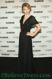 elegant v neck chiffon taylor swift black long evening gowns for