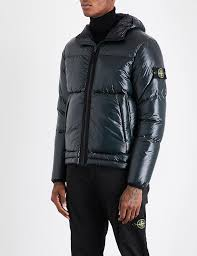 stone island pertex quantum quilted hooded shell jacket for men lyst
