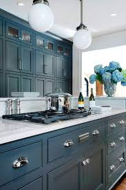 red oak wood colonial amesbury door blue gray kitchen cabinets