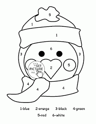 color by number cute penguin coloring page for kids education