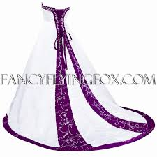lace up back white and purple wedding dress at fancyflyingfox com