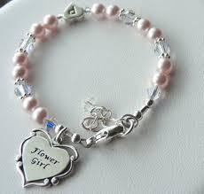 flower girl charm bracelet flower gril bracelet sterling silver heart initial with