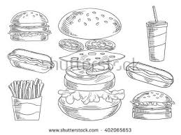 fast food dinner menu isolated sketch stock vector 368677349