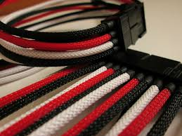 sold sleeved extension cables black red white asus rog theme