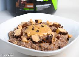 Oatmeal Bars With Chocolate Topping Chocolate Peanut Butter Protein Oatmeal Macrochef