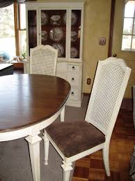 Cane Back Dining Room Chairs Loveleigh Again Creamy Distressed Table And Hutch