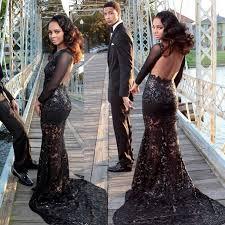 backless long sleeves black lace prom dress dressywomen com