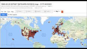 Mail Map 1990 02 20 Bitnet Bitearn Nodes Map 3173 Nodes Youtube